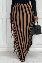 Black Brown Fashion Casual Striped Print Tassel Split Joint Regular High Waist Skirt