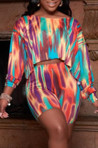 Multicolor Fashion Casual Print Basic O Neck Long Sleeve Two Pieces