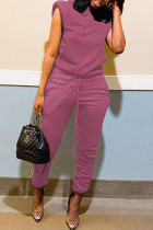 Pink Purple Fashion Casual Solid Basic Hooded Collar Short Sleeve Two Pieces