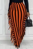 Orange Fashion Casual Striped Print Tassel Split Joint Regular High Waist Skirt
