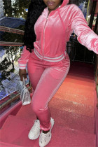 Pink Fashion Casual Solid Split Joint Zipper Hooded Collar Long Sleeve Two Pieces