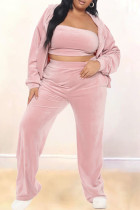Pink Fashion Casual Solid Cardigan Pants Hooded Collar Plus Size Two Pieces(Without Tube Top)