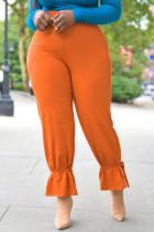 Orange Fashion Casual Solid Split Joint Pencil Bottoms