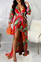 Red Sexy Print Split Joint V Neck Irregular Dress Dresses