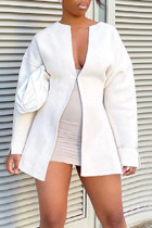 White Casual Solid Split Joint Outerwear