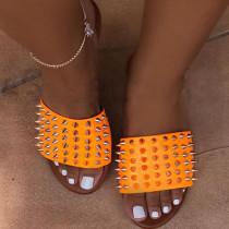Orange Fashion Casual Rivets Slippers