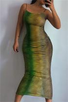 Green Fashion Sexy Print See-through Backless Spaghetti Strap Long Dress Dresses
