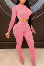 Pink Casual Solid Split Joint Fold O Neck Long Sleeve Two Pieces