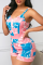 Pink Sexy Print Split Joint V Neck Straight Jumpsuits