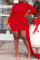 Red Sexy Casual Solid Split Joint Asymmetrical Half A Turtleneck Long Sleeve Plus Size Dresses