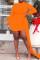 Orange Sexy Casual Solid Split Joint Asymmetrical Half A Turtleneck Long Sleeve Plus Size Dresses