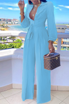 Baby Blue Casual Solid Split Joint Turndown Collar Straight Jumpsuits