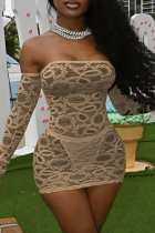 Khaki Sexy Solid Lace Off the Shoulder Pencil Skirt Dresses