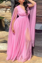 Pink Elegant Solid Split Joint See-through Slit V Neck Straight Plus Size Dresses