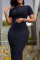 Black Sexy Solid Buckle O Neck Pencil Skirt Dresses