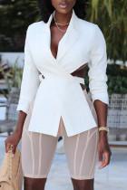 White Fashion Street Solid Split Joint V Neck Outerwear