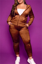Brown Fashion Casual Solid Cardigan Pants Hooded Collar Plus Size Two Pieces
