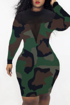 Camouflage Sexy Casual Print Split Joint See-through O Neck Long Sleeve Dresses