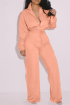 Orange Pink Fashion Casual Solid Basic Turndown Collar Long Sleeve Two Pieces