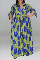 Green Sexy Print Bandage Split Joint Buttons Fold Turndown Collar Straight Plus Size Dresses