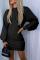 Black Casual Solid Split Joint O Neck Waist Skirt Dresses
