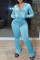 Sky Blue Fashion Casual Solid Split Joint Zipper Hooded Collar Long Sleeve Two Pieces