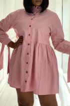 Pink Fashion Casual Solid Basic Turndown Collar Shirt Dress