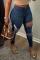 Dark Blue Sexy Solid Ripped Mid Waist Skinny Denim Jeans