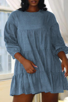 Light Blue Fashion Casual Solid Split Joint O Neck A Line Dresses