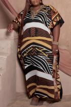 Khaki Fashion Casual Plus Size Print Basic O Neck Long Dress