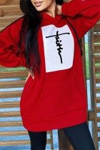 Red Fashion Casual Print Split Joint Hooded Collar Tops