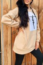 Khaki Fashion Casual Print Split Joint Hooded Collar Tops
