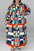Stripe Casual Color Lump Print Split Joint Buttons Pearl With Belt Turndown Collar Straight Plus Size Dresses