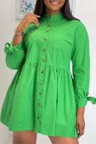 Green Fashion Casual Solid Basic Turndown Collar Shirt Dress
