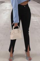 Black Fashion Street Solid Slit High Waist Denim Jeans
