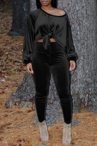 Black Fashion Casual Solid Bandage Oblique Collar Long Sleeve Two Pieces