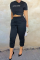 Black Casual Solid Split Joint Harlan Mid Waist Harlan Solid Color Bottoms