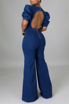 The cowboy blue Fashion Casual Solid Backless O Neck Regular Jumpsuits