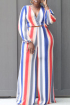 Pink Fashion Casual Striped Print Split Joint V Neck Long Sleeve Two Pieces