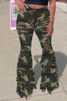Camouflage Fashion Street Patchwork Ripped High Waist Denim Jeans
