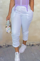 White Casual Solid Split Joint Harlan Mid Waist Harlan Solid Color Bottoms