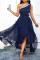 Tibetan Blue Casual Solid Mesh One Shoulder Cake Skirt Dresses