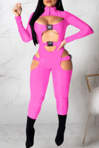 Pink Sexy Casual Solid Hollowed Out Split Joint Turtleneck Skinny Jumpsuits
