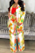Multicolor Casual Print Split Joint Turndown Collar Long Sleeve Two Pieces