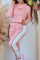 Pink Fashion Casual Solid Split Joint Hooded Collar Long Sleeve Two Pieces