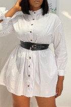 White Fashion Casual Solid Basic Turndown Collar Shirt Dress