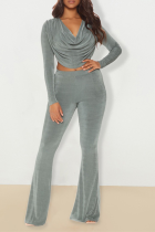 Silver Sexy Solid Split Joint V Neck Long Sleeve Two Pieces