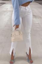 White Fashion Street Solid Slit High Waist Denim Jeans