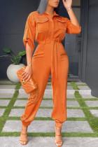 Orange Fashion Casual Solid Split Joint Turndown Collar Regular Jumpsuits