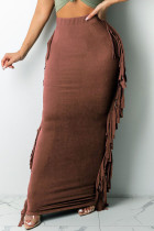 Brown Red Fashion Casual Solid Tassel Pencil Bottoms